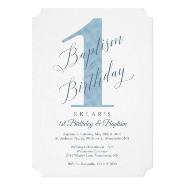 Elegant Script Blue Baby's 1st Birthday & Baptism Invitation