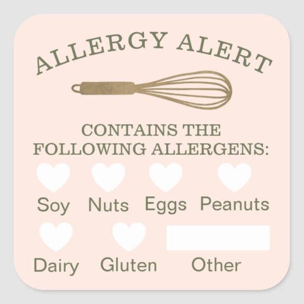 Food Safety Allergy Alert Gold Bakery Whisk Pink Square Sticker