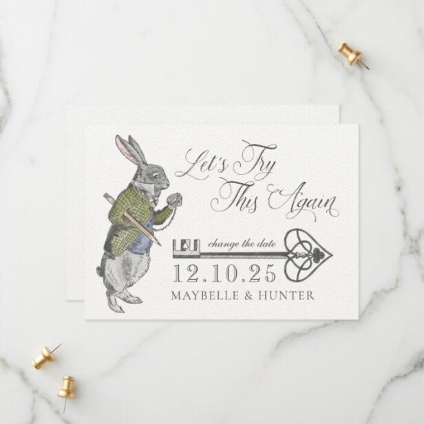 Let's Try This Again | Vintage Alice In Wonderland White Rabbit Save The Date