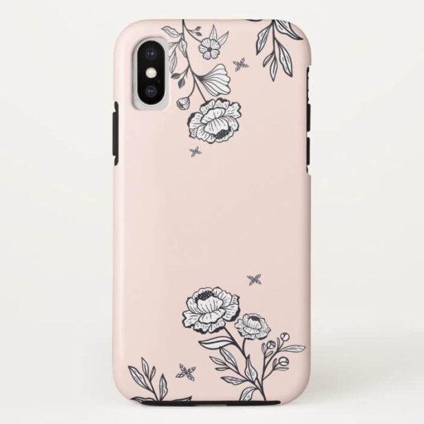 Modern Chic Floral Rose Botanical Blush Pink Case-Mate iPhone Case