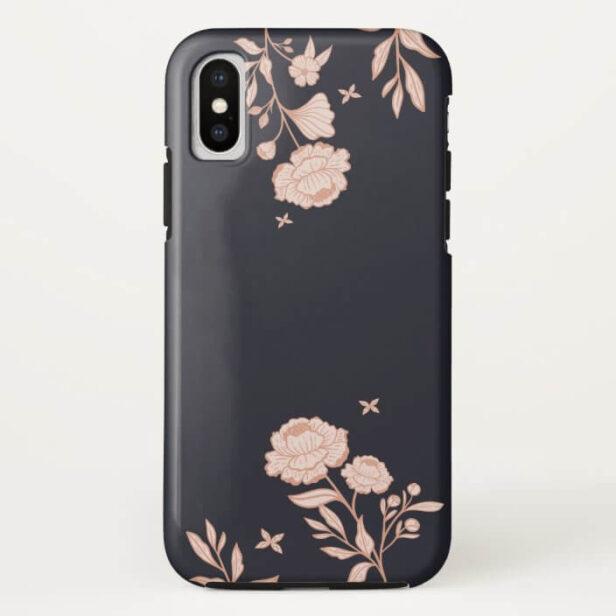 Modern Chic Floral Rose Botanical Navy & Pink Case-Mate iPhone Case