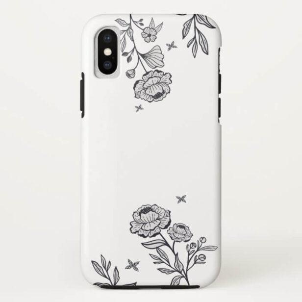 Modern Chic Floral Rose Botanical White Case-Mat Case-Mate iPhone Case