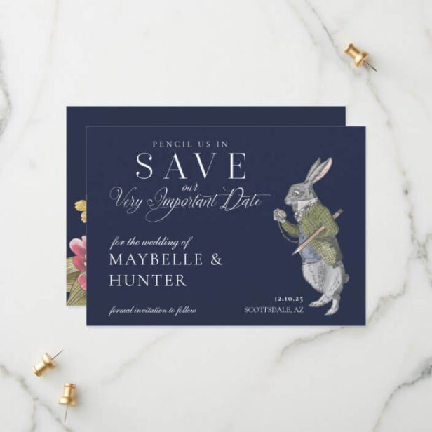 Pencil Us In Vintage Alice In Wonderland Rabbit Save The Date Navy Blue