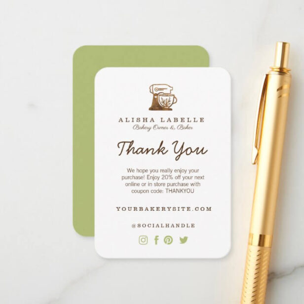 Thank You Bakery Stand Mixer Enclosure Card