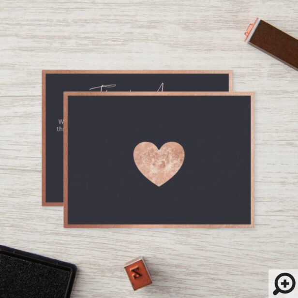 Thank You For Your Business Rose Gold Heart Navy Loyalty Card