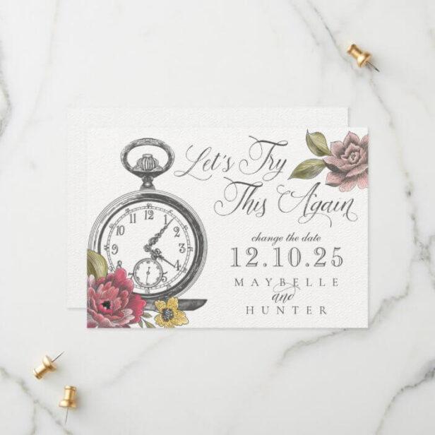 Vintage Alice In Wonderland Pocket Watch & Florals Save The Date