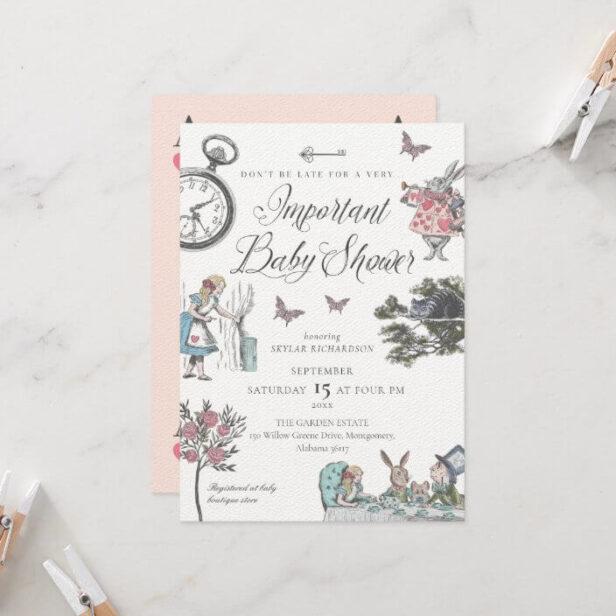 Vintage Alice In Wonderland Storybook Baby Shower Invitation