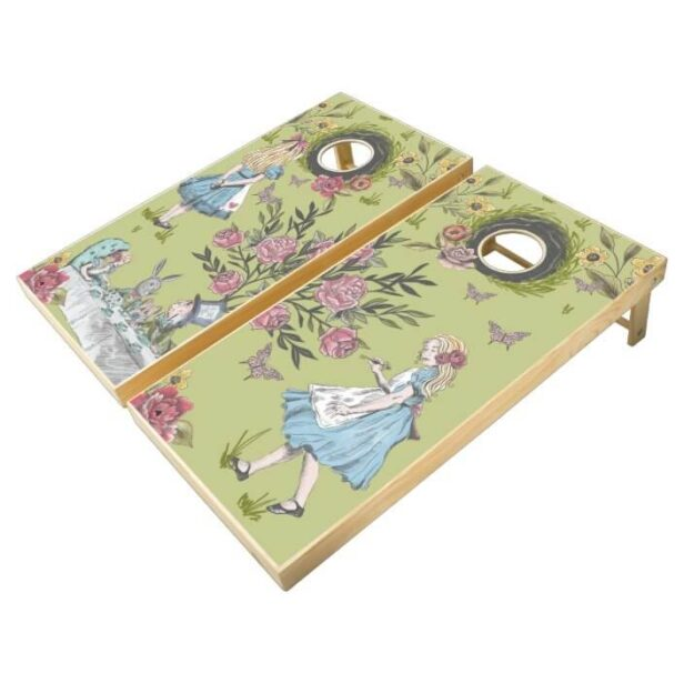 Vintage Alice In Wonderland Storybook Rabbit Hole Cornhole Set