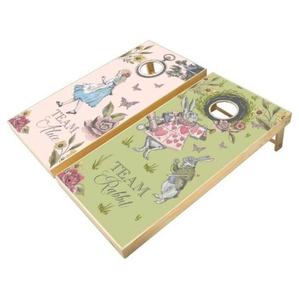 Vintage Alice In Wonderland Team Alice & Rabbit Cornhole Set