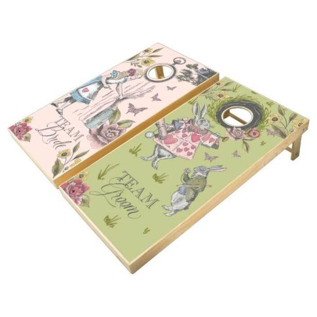 Vintage Alice In Wonderland Team Bride & Groom Cornhole Set