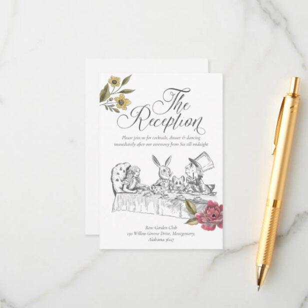 Vintage Alice In Wonderland Wedding Reception Enclosure Card
