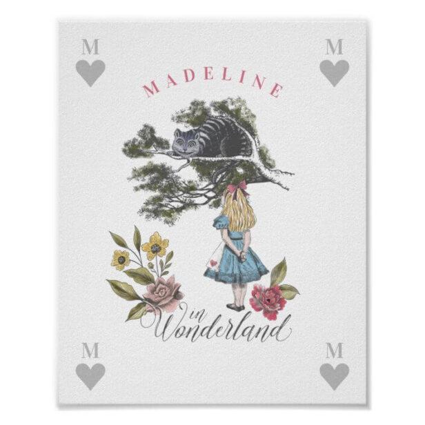 Vintage Alice in Wonderland | Alice & Cheshire cat Poster