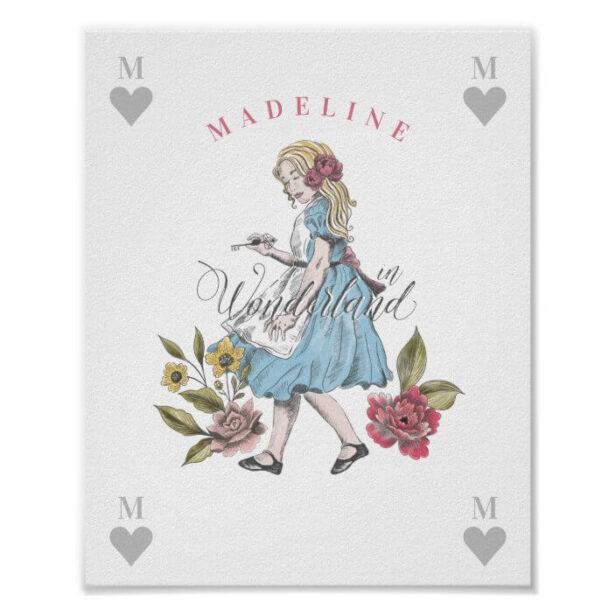 Vintage Alice in Wonderland | Alice & Florals Poster
