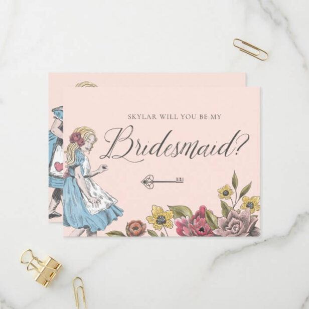 Vintage Alice in Wonderland | Be My Bridesmaid? Invitation Postcard