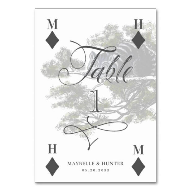 Vintage Alice in Wonderland Cheshire Playing Card Wedding Table Number
