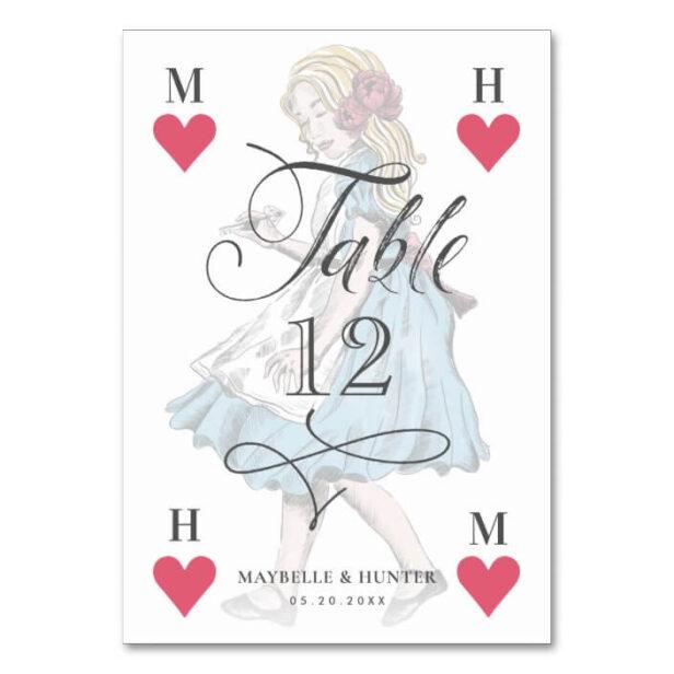 Vintage Alice in Wonderland Heart Playing Card Watercolor Wedding Table Number