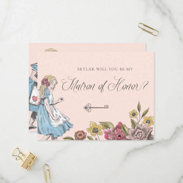 Vintage Alice in Wonderland | My Matron of Honor? Invitation Postcard