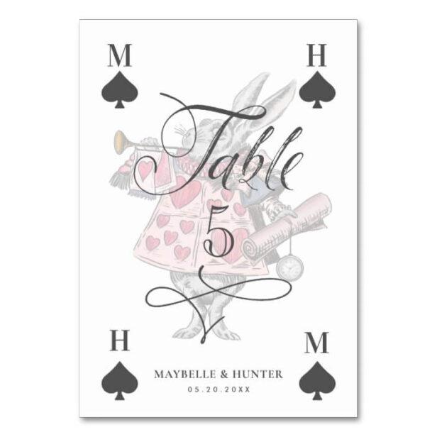 Vintage Alice in Wonderland Rabbit Playing Card Wedding Table Number