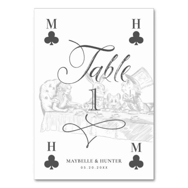 Vintage Alice in Wonderland Tea Party Playing Card Wedding Table Number