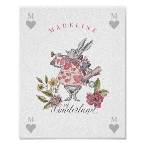 Vintage Alice in Wonderland | White Rabbit Florals Poster