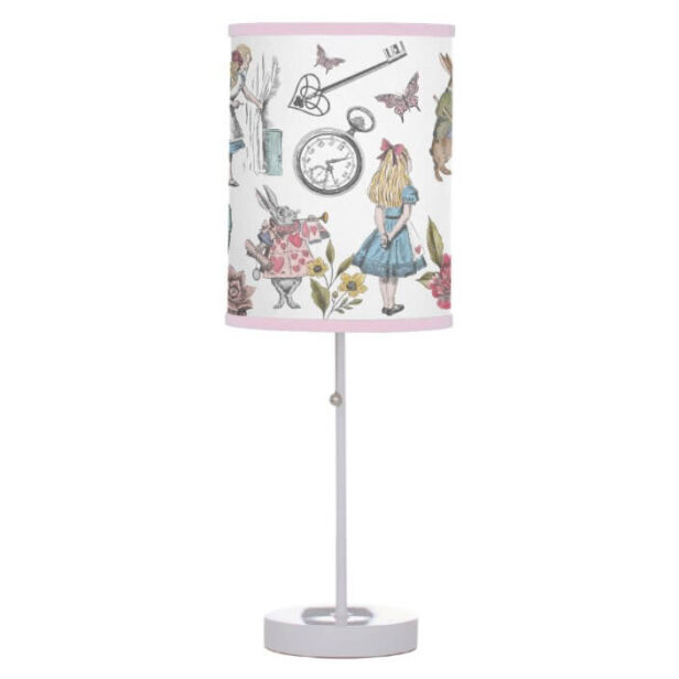Alice In Wonderland Vintage Storybook Characters Table Lamp