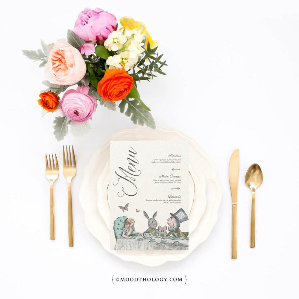 Alice in Wonderland Tea Party Menu Design By Moodthology Papery