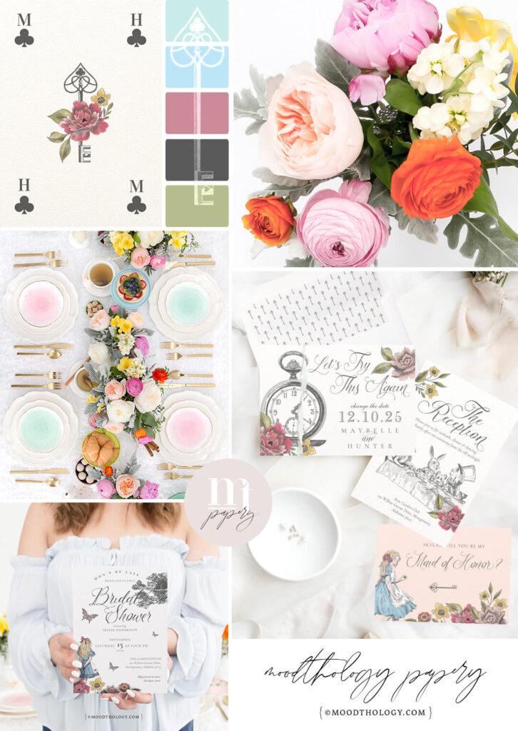 Vintage Alice in Wonderland Wedding Mood board By Moodthology Papery