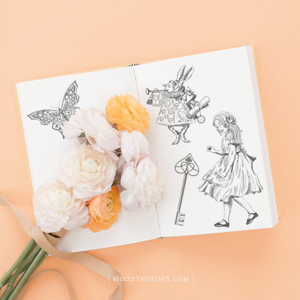 Vintage Alice in Wonderland Sketches Moodthology Papery