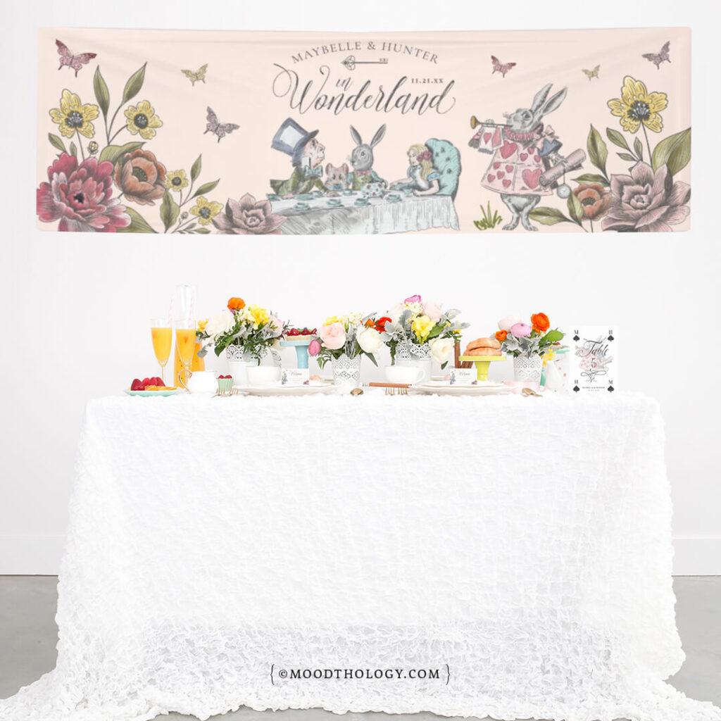 Vintage Alice in Wonderland Party Banner Display By Moodthology Papery