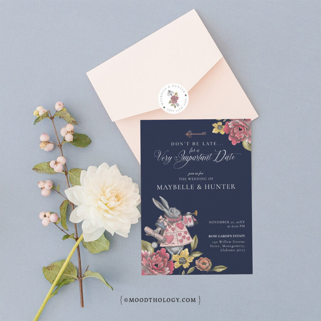 Vintage Alice in Wonderland Wedding Invitation Design By Moodthology Papery