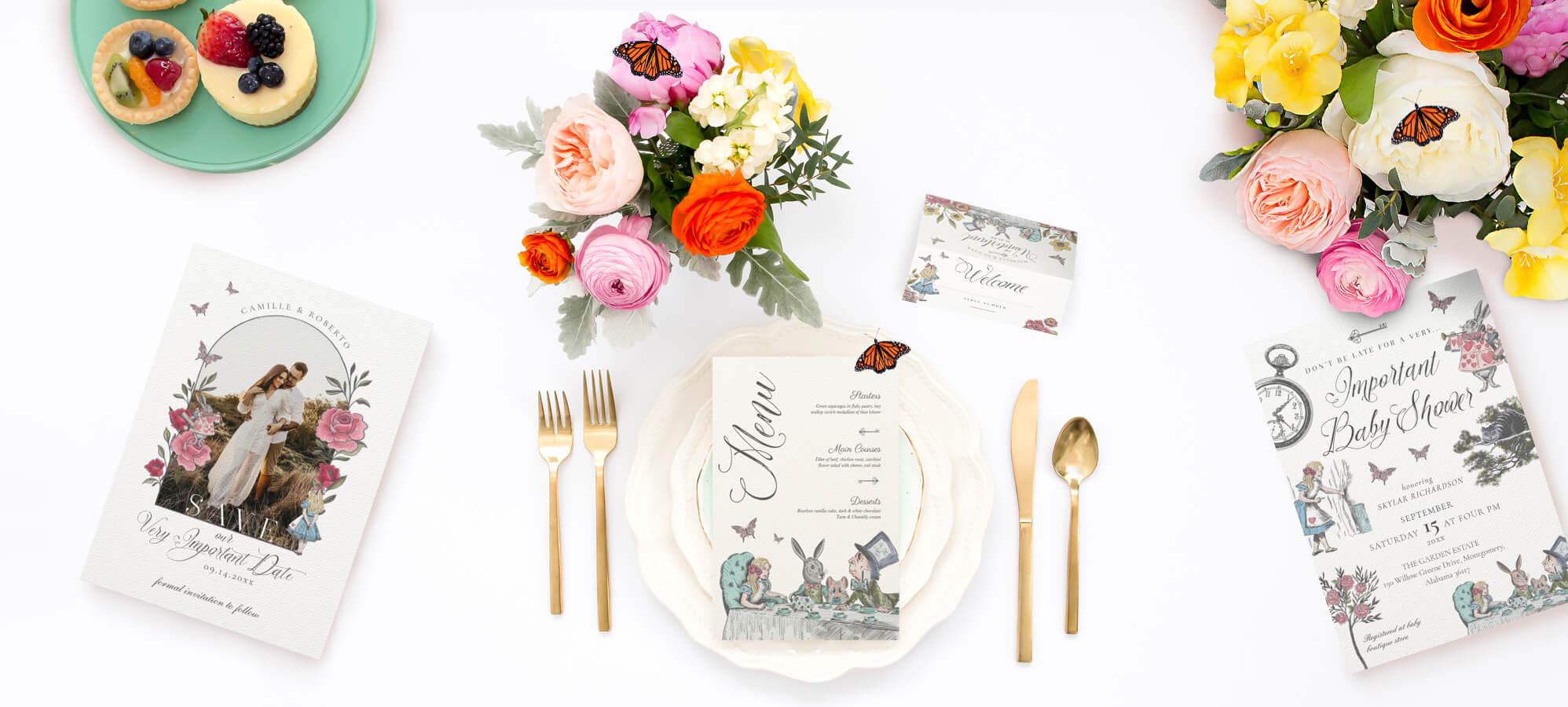 Vintage Alice in Wonderland Wedding Invitations By Moodthology Papery