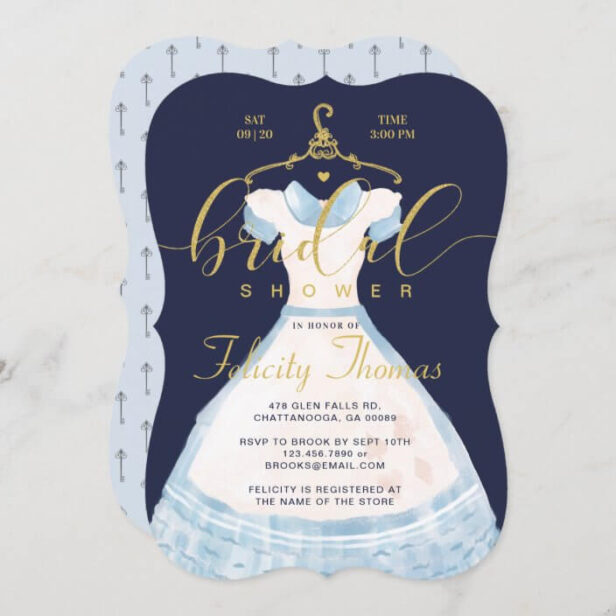 Alice In Wonderland Chic Blue Dress Bridal Shower Invitation