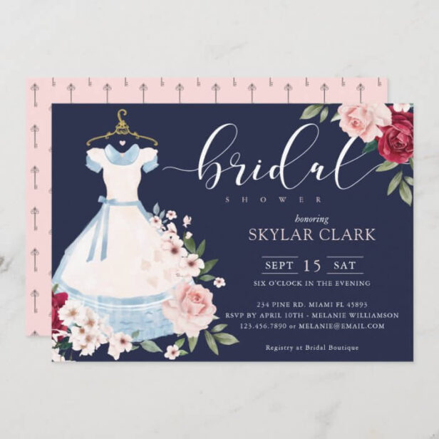 Alice In Wonderland Floral Blue Dress Bridal Shower Invitation