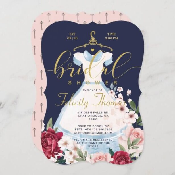 Alice In Wonderland Floral Dress Bridal Shower Invitation
