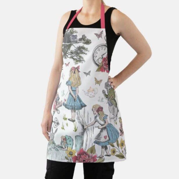 Alice In Wonderland Vintage Fairy Tale Collage Jig Apron