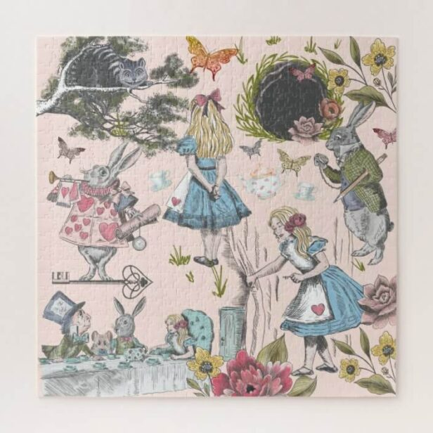 Alice In Wonderland Vintage Fairy Tale Collage Jigsaw Puzzle