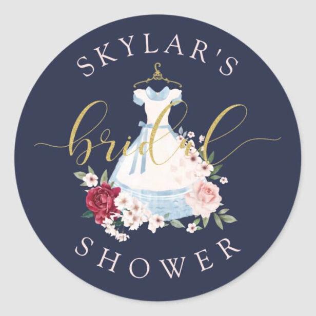Alice in Wonderland Floral Dress Bridal Shower Classic Round Sticker