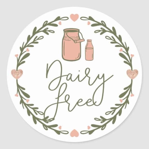 Bakery Dairy Free Milk Jug & Wreath Pink & Green Classic Round Sticker