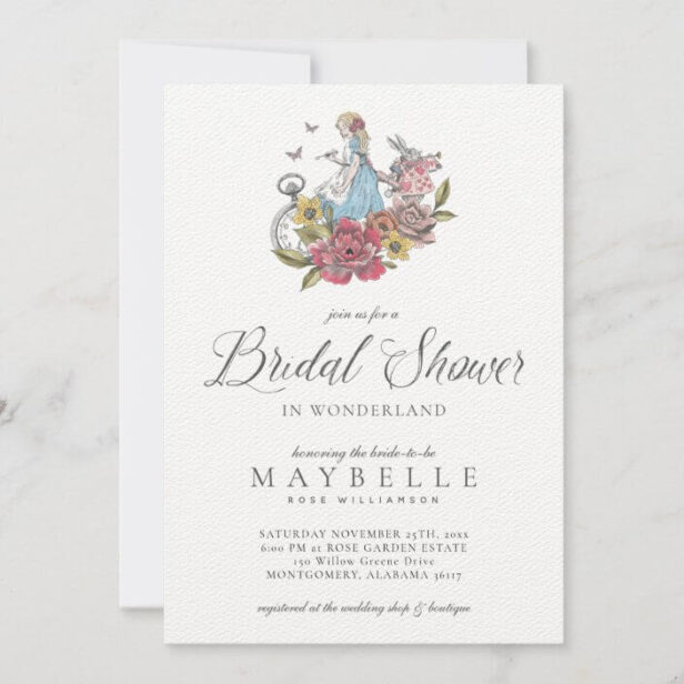 Bridal Shower Wonderland Vintage Alice Wonderland Invitation