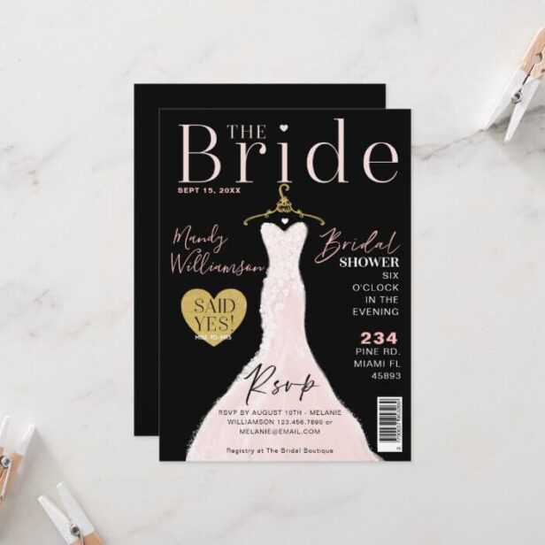 Bride Wedding Dress Bridal Shower Magazine Cover I Invitation Black