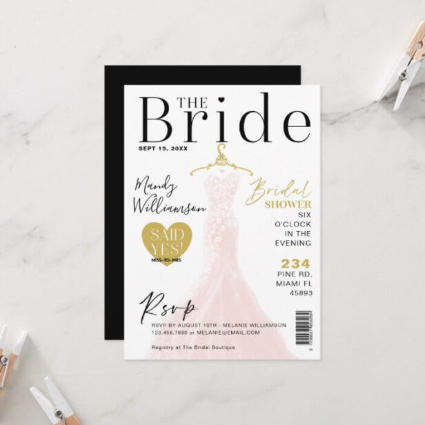 Bride Wedding Dress Bridal Shower Magazine Cover I Invitation White