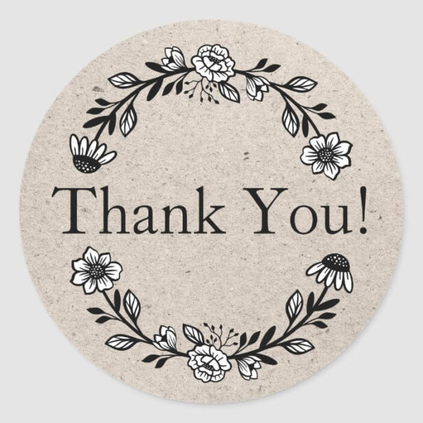 Business Thank You Floral Wreath Kraft Paper Classic Round Sticker