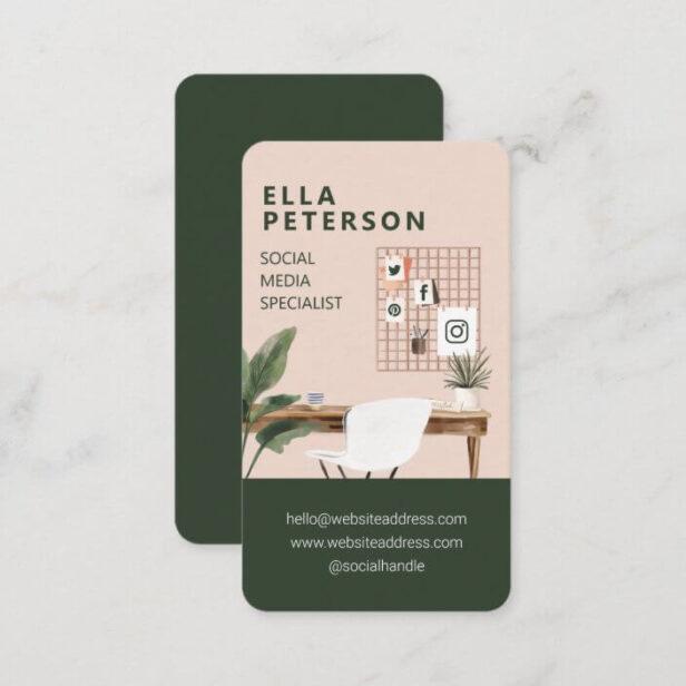 Chic Stylish Workstation Office Desk Social Media Business Card