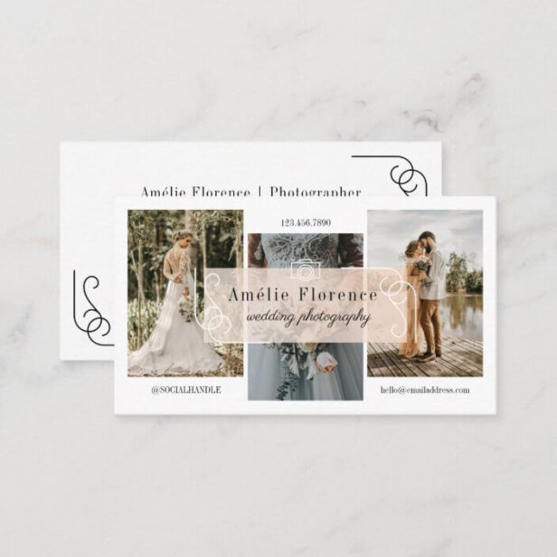 Classy Scroll Pink Nameplate Wedding Photographer Business Card