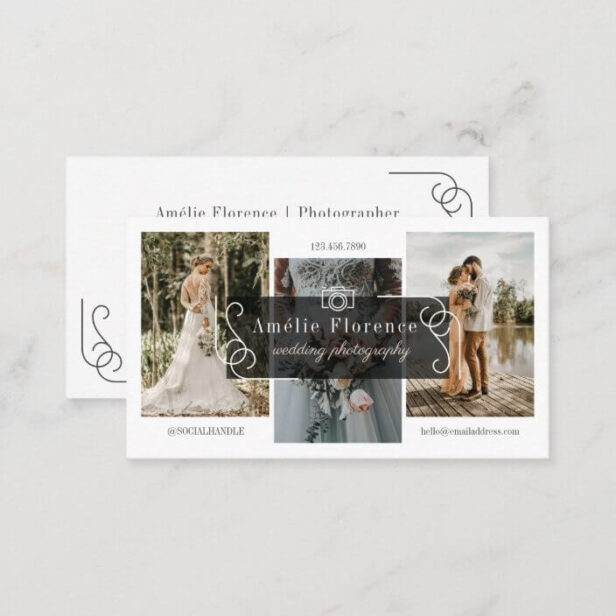 Classy Scroll Black Nameplate Wedding Photographer Business Card