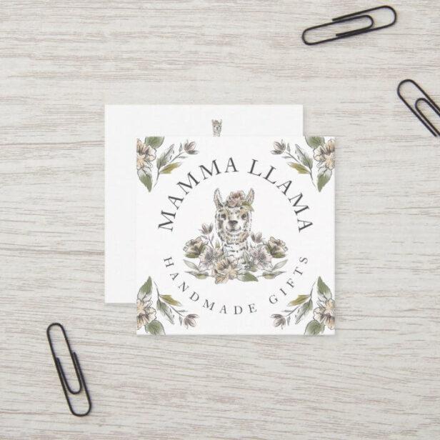 Cute Adorable Llama Watercolor Sketch Floral Square Business Card