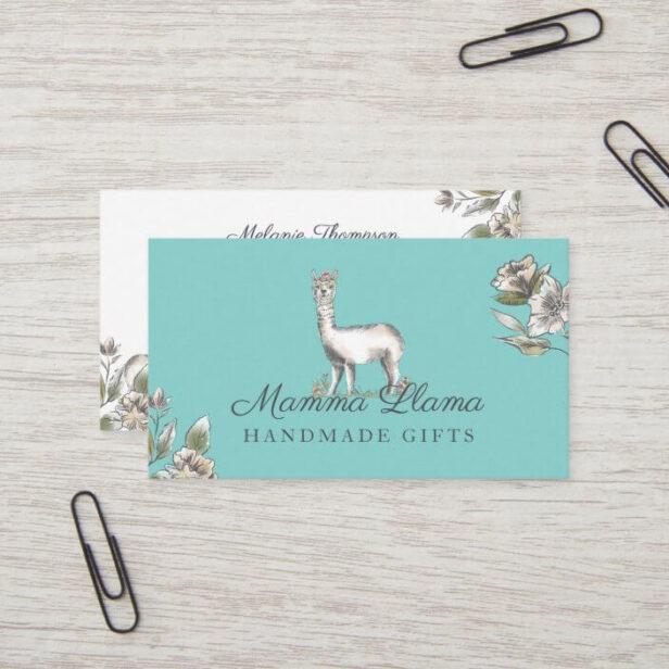 Cute Adorable Llama Watercolor Sketch Floral Business Card