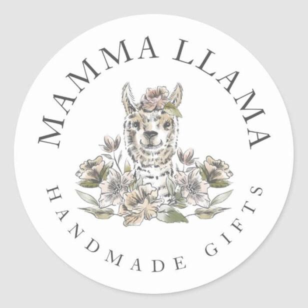 Cute Adorable Llama Watercolor Sketch Floral Classic Round Sticker