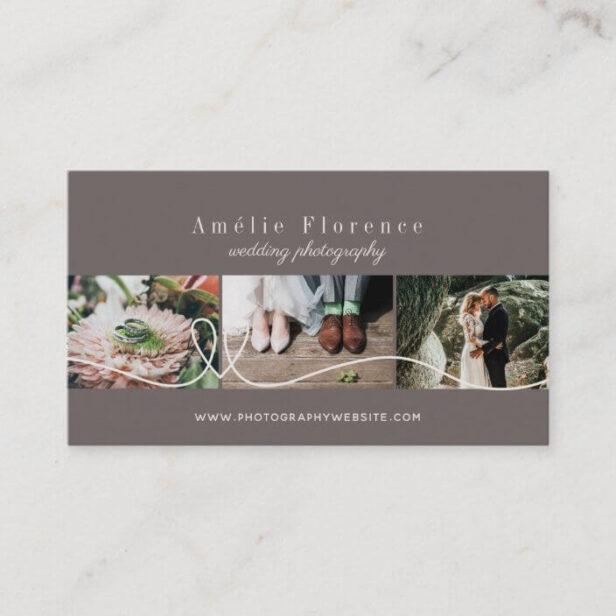 Elegant Heart 3 Photo Collage Wedding Photographer Deep Taupe Business Card
