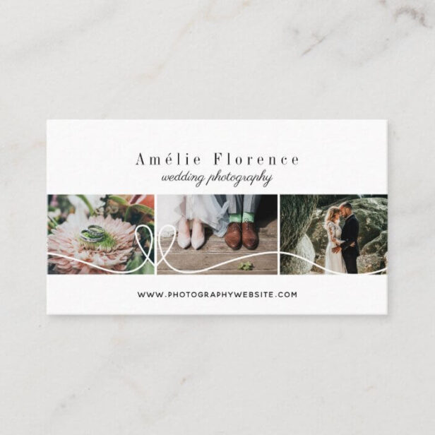 Elegant Heart 3 Photo Collage Wedding Photographer White Business Card